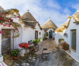 Guided tour of Itria Valley, Alberobello and Locorotondo, wine tasting and transfer from Ostuni